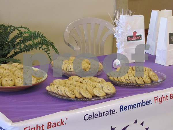 Delicious chocolate chip cookies (baked by Deb Johnson) were the dessert item on the voting table at the Relay For Life fundraiser held at Fort Dodge Ford.