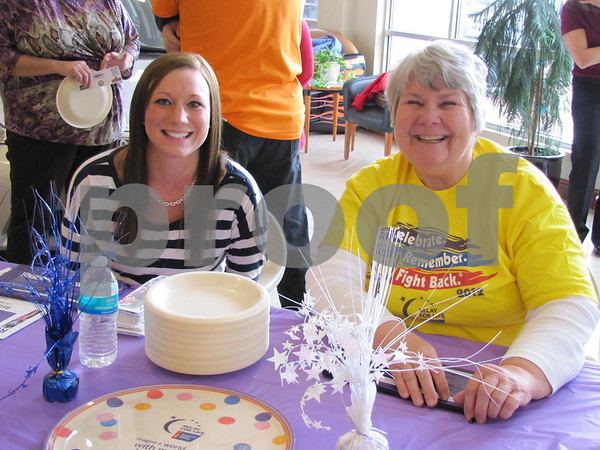 Emily Stucky and Nancy McCard were at the sign-up table for 'Wing It' for Relay For Life.