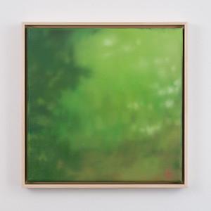 """das glueck liegt in der wiese   12"""" x 12""""   oil on canvas   2020   $600 (framed)"""