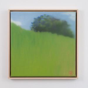 """sunny day   12"""" x 12""""   oil on canvas   2020   $600 (framed)"""