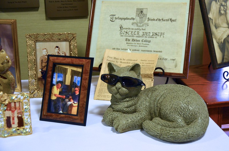 Fr. Joe had a great love of cats. Several pieces from his collection were on display with other mementos.