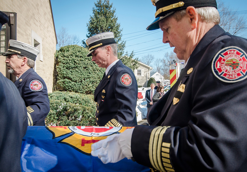 """. Fire Chief Kevin Roy joins the funeral procession of Fitchburg Firefighter Jack Mulcahy at Our Lady of the Lake Church in Leominster on Monday, March 20, 2017. Jack \""""Mulky\"""" Mulcahy, who served 41 years on the department, died Wednesday, March 15, after a 16-month battle with pancreatic cancer. He was 63. SENTINEL & ENTERPRISE / Ashley Green"""