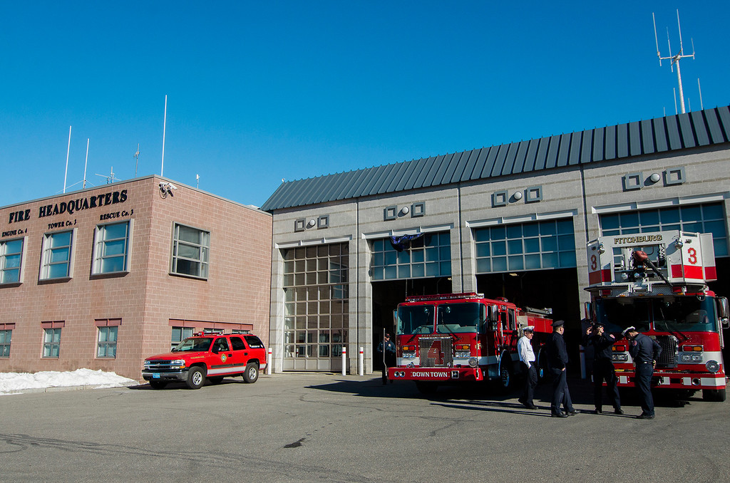 ". Fire engines at the Fitchburg Fire Department prepare for the funeral of firefighter Jack Mulcahy on Monday, March 20, 2017. Jack ""Mulky\"" Mulcahy, who served 41 years on the department, died Wednesday, March 15, after a 16-month battle with pancreatic cancer. He was 63. SENTINEL & ENTERPRISE / Ashley Green"