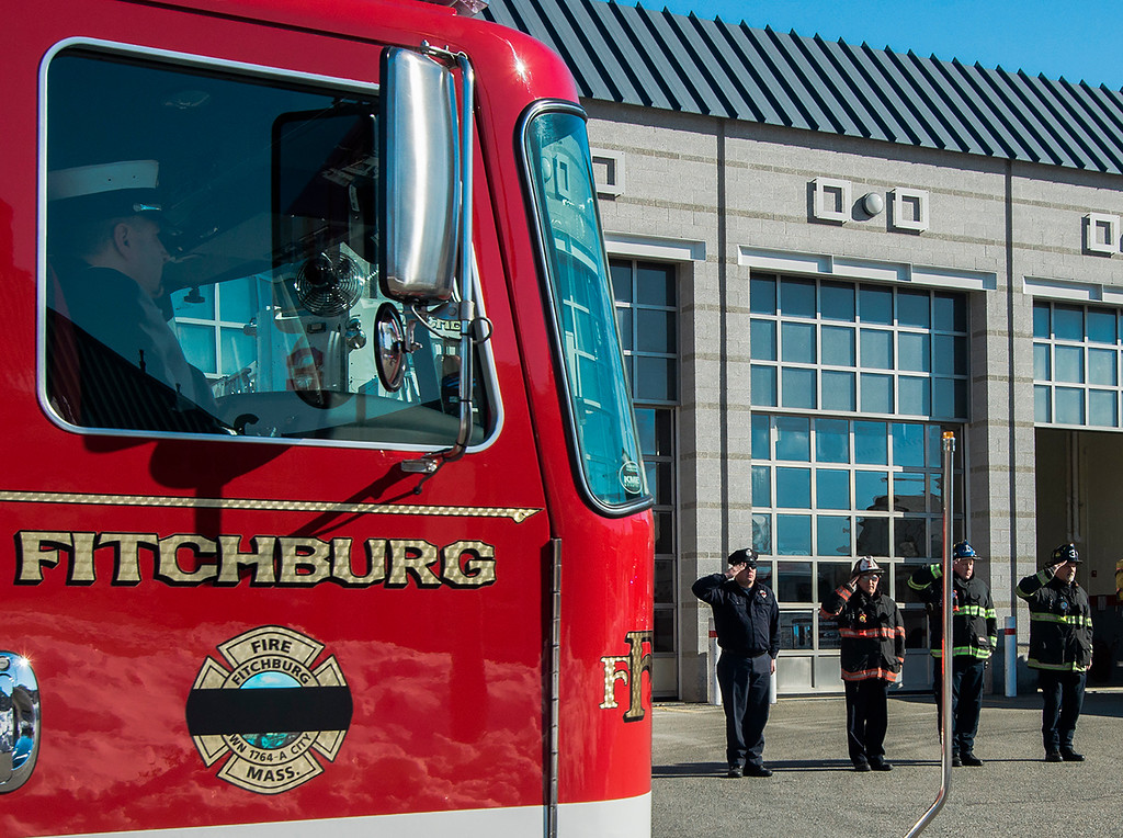". The funeral procession of Fitchburg Firefighter Jack Mulcahy makes a stop at Central Station for a wreath-laying ceremony on Monday, March 20, 2017. Jack ""Mulky\"" Mulcahy, who served 41 years on the department, died Wednesday, March 15, after a 16-month battle with pancreatic cancer. He was 63. SENTINEL & ENTERPRISE / Ashley Green"