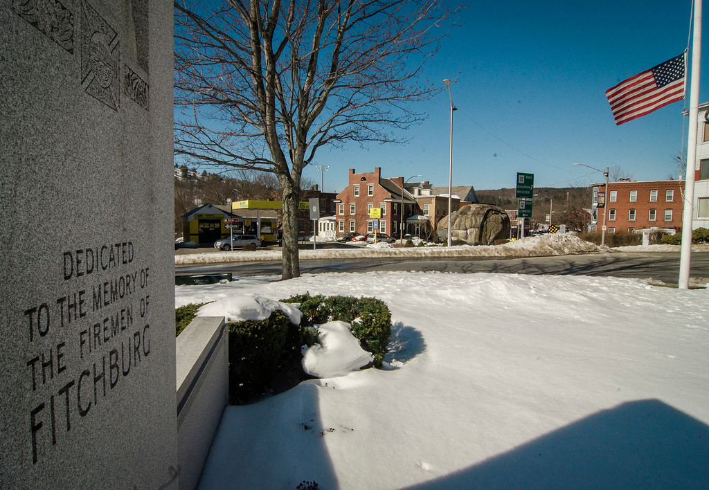 """. An American flag can be seen at half-staff at the firemen\'s memorial in honor of Fitchburg Firefighter Jack Mulcahy following his funeral on Monday, March 20, 2017. Jack \""""Mulky\"""" Mulcahy, who served 41 years on the department, died Wednesday, March 15, after a 16-month battle with pancreatic cancer. He was 63. SENTINEL & ENTERPRISE / Ashley Green"""