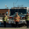 "A Lunenburg fire engine and firefighters stand at attention after the funeral procession of Fitchburg Firefighter Jack Mulcahy passes by the Summer Street station on Monday, March 20, 2017. Jack ""Mulky"" Mulcahy, who served 41 years on the department, died Wednesday, March 15, after a 16-month battle with pancreatic cancer. He was 63. SENTINEL & ENTERPRISE / Ashley Green"
