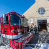 Fitchburg Engine 1 pulls into the church. SENTINEL & ENTERPRISE / Jim Marabello