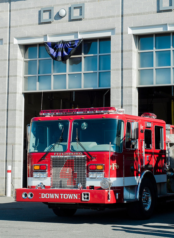 """. Fire engines at the Fitchburg Fire Department prepare for the funeral of firefighter Jack Mulcahy on Monday, March 20, 2017. Jack \""""Mulky\"""" Mulcahy, who served 41 years on the department, died Wednesday, March 15, after a 16-month battle with pancreatic cancer. He was 63. SENTINEL & ENTERPRISE / Ashley Green"""