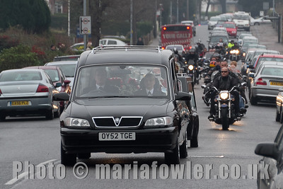 Kieron 'Spam' Mealing. Funeral cortege, Main Road, West Street, Church Street, Harwich.