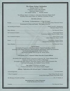 Reverend Dr. David Chaney Homegoing Program March 2008