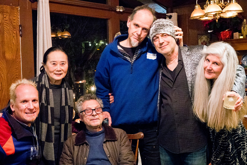 2019.03.14_Freddy Clarke's wake at their home for his mother Pearl;  (L-R) dave Polzer; Michelle Woo; Mehram Sheikholeslami; Frank Olivier; Freddy Clarke; Shannon McElyea.