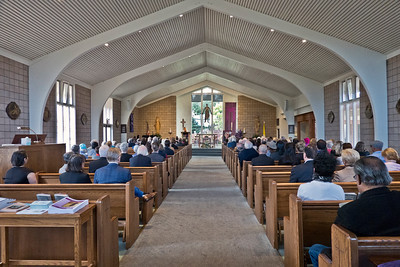 2019.03.29_Pearl Clarke Funeral Mass at Saint Denis Catholic Church. Long view of church and service.