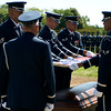 """The Honor Guard fold the flag during the funeral of Col. Clem Robert """"Bob"""" Lawson USAF. Arlington National Cemetery, July 8, 2009"""