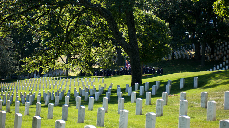 """Funeral procession of Clem Robert """"Bob"""" Lawson USAF. Arlington National Cemetery, July 8, 2009"""