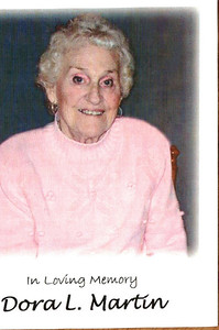 Front page of memorial card from memorial service for Dot Martin.