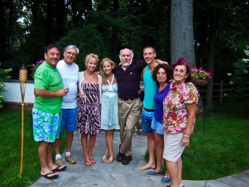 Alex Hyman, left; Jack Hyman (Alex's father), 2nd on left; Carrie (née Walsey) Hyman (Alex's wife), 3rd on left; Lindsay Sarah Hyman, daughter, 4th on left; Stephen Somerstein (Carrie's uncle), 4th on right; Tommy Hefferan (Lindsay's boyfriend), 3rd on right; Joan (née Somerstein) Walsey (Carrie's mother), 2nd on right; Dora Hyman (Jack's wife), right - Hyman, Walsey and Somerstein families at Hyman home for Elliot Walsey gravestone unveiling
