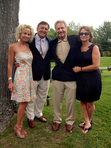 Carrie (Walsey) Hyman, left; husband Alex Hyman, 2nd on left; Ric Berry, 3rd on left; Debra Berry, right - Elliot Walsey gravestone unveiling and luncheon