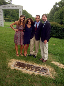 Alexandra Solomon, left; Joan (Somerstein) Walsey, 2nd on left; Rusty Solomon, 3rd on left; and Jeremy Solomon, right - Elliot Walsey gravestone unveiling and luncheon
