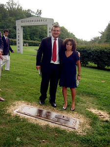 Joan Walsey and Rabbi - Elliot Walsey gravestone unveiling and luncheon