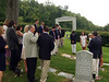 Elliot Walsey gravestone unveiling - ◊ FRONT: Jan Rice, on left; Buffy Hyman, 2nd on left; Norman Hyman (Alex's brother), 3rd on left; Dora Hyman, 4th on left; Carrie (née Walsey) Hyman, 5th on left; Jack Hyman, 6th on left; Rusty Solomon, 7th on left front;  ◊ REAR CENTER: Bryan Hyman, left; Jeremy Solomon, center; Ric Berry, right ◊ REAR: RIGHT: Alexandra Solomon, 3rd on left front; Jackie Hyman, 4th on right; Gabriela Lynne Hyman, 3rd on right; Lindsay Sarah Hyman, 2nd on right; Alex Hyman, right
