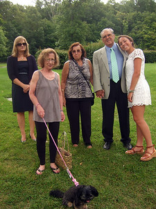 Jan Rice, left; Barbara Valle with dog Lola, 2nd on left; Dora Hyman, 3rd on left; Jack Hyman, 2md on right; and grand-daughter Gabriella Hyman, right - Elliot Walsey gravestone unveiling and luncheon