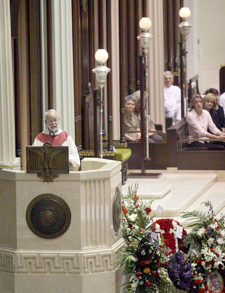 E.L. Hubbard for the Telegraph<br /> Reverend James A. Bramlage speaks about the lives of the fallen firefighters during the funeral at the Cathedral of Saint Peter in Chains Wednesday, 04/09/2008.