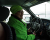 Jessie Sutherland driving in Moosonee on her way to Fort Albany.