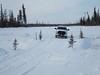 On the James Bay Winter Road between Moosonee and Fort Albany. Snow bridge. Kapiskau.