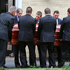 Pallbearers carry the casket of Vanessa Marcotte into Our Lady of the Lake Church on Main Street in Leominster for her funeral. SENTINEL & ENTERPRISE/JOHN LOVE
