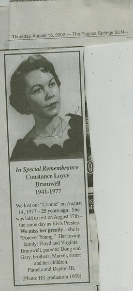 "GOODBYE:  Constance ""Connie"" Loyce Bramwell-Kirkham 1941-1977"