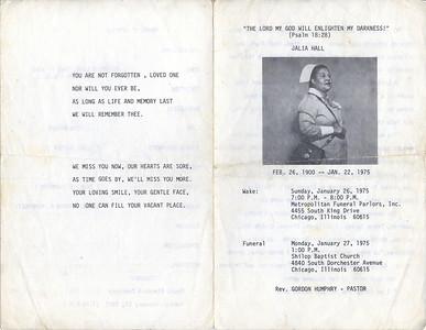 1900-2-26 ~ 1975-1-22 Julia Hall  {Momma Hall}