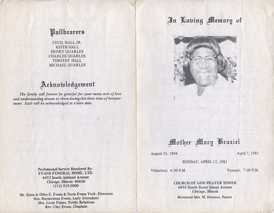 1894-8-31 ~ 1987-4-7 Mother Mary Braziel { Moma Dear} My Great Grand Mother.