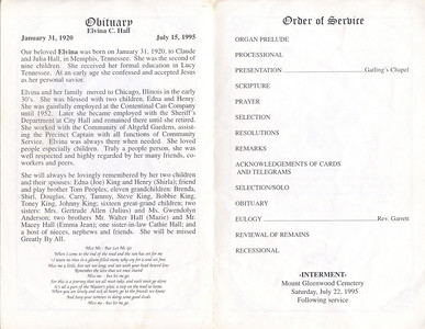 1920-130 ~1995-1-15 Elvina C Hall - Obituary