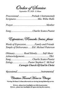 5X5X8 5 ORDER OF SERVICE PG-3