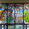 Stained glass window in the funeral service area