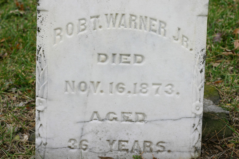 Only 36 Years He died so young!<br /> Life was hard on the frontier in the late 1800s, and Robert Warner Jr. came as a teenager with his family from Ireland in 1852 to settle in Peter's Colony, now Carrollton, Texas. He was the first of the family to die, and this family cemetery was started for him.