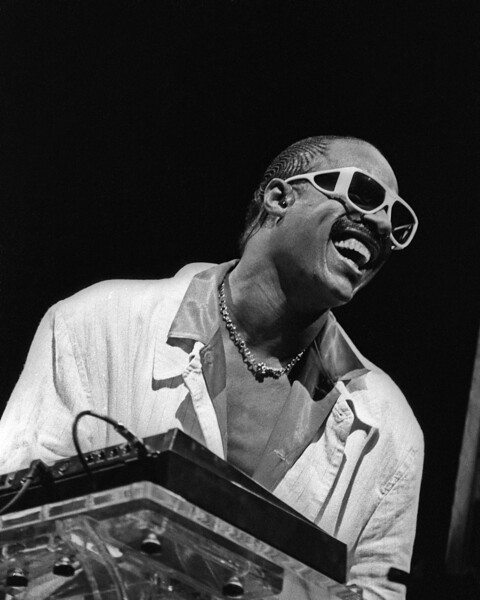 tevie Wonder performs at the Oakland Coliseum in Oakland, CA as part of the Square Circle tour on June 15, 1985.