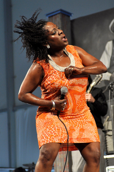 Sharon Jones & The Dap Kings perform live at the New Orleans Jazz & Heritage Festival on April 26, 2009.