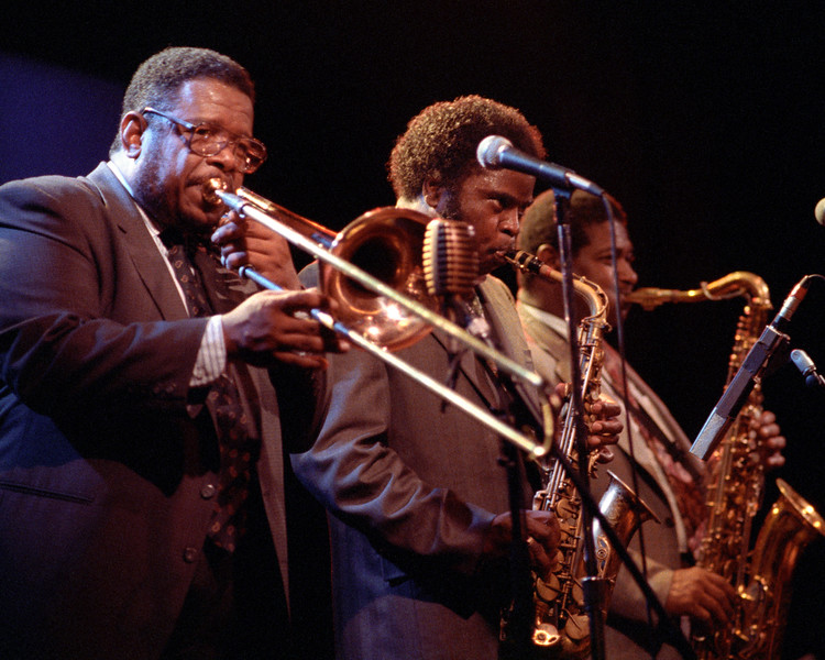 The JB Horns perform at Kimball's East in Emeryville, CA on June 12, 1991. (l-r): Fred Wesley, Maceo Parker, Pee Wee Ellis.