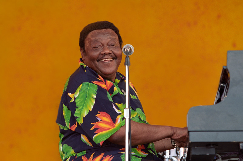 Fats Domino performs at the New Orleans Jazz & Heritage Festival on May 6, 2001.