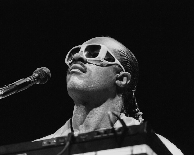 Stevie Wonder performs at the Oakland Coliseum on June 16, 1985.