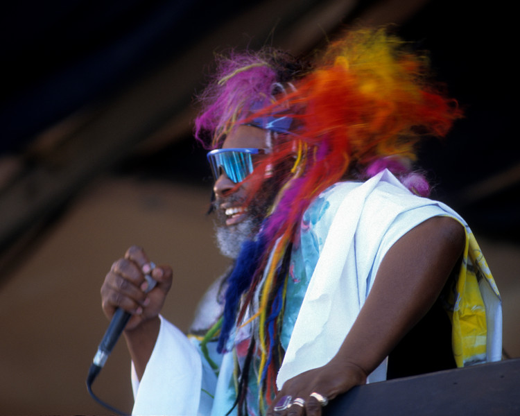 George Clinton and the P-Funk All-Stars performing at the New Orleans Jazz & Heritage Festival on May 4, 1997.