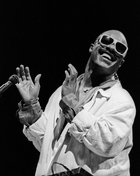 Stevie Wonder performs at the Oakland Coliseum in Oakland, CA as part of the Square Circle tour on June 15, 1985