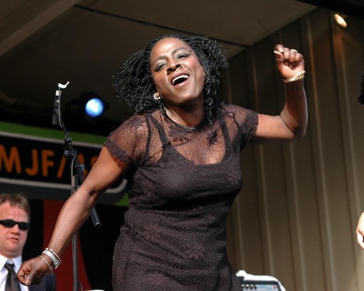 Sharon Jones performs with the Dap Kings at the Monterey Jazz Festival on September 17, 2005.