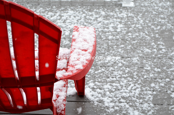 Snowy Red Chair