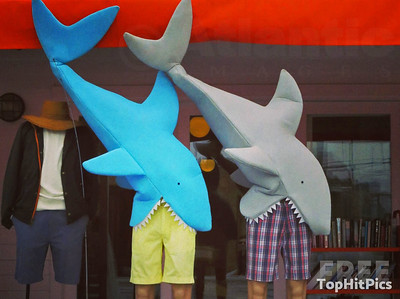 Two Sharks Eating Fashion Dummies on Abbot Kinney Blvd, LA