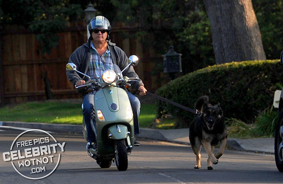 EXC: Jim Belushi Takes His Dog For A Walk On His Moped!