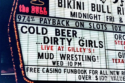 "The Frontier Hotel ""Bikini Bull Riding"" And ""Cold Beer...Dirty Girls"" Sign, Las Vegas"