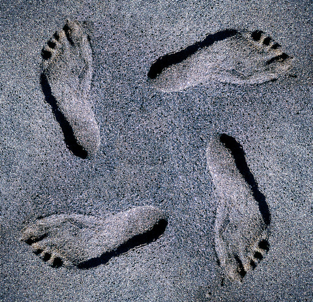 ~ Following Footprints ~<br /> <br /> Raised or sunken? --I created this on a whim last year for my old Fotolog site. It was made from my daughter's single footprint in black sand. I did a quick Photoshop splicing job and rotated the same exact footprint 3 more times. <br /> <br /> What is interesting is the illusion of the print being recessed or raised. As I gaze from one footprint to the next,  they seem to change from raised to sunken. Do you find that for you too? Again, each print is identical and IS sunk into the sand!