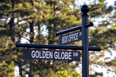 Box Office Drive and Golden Globe Drive street signs